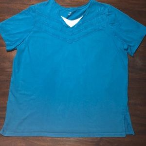 Catherines Teal V-Neck Top Sz 1X 18/20W